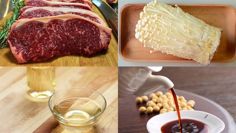 Nguyên liệu món ăn 2 cách làm bò cuộn nấm kim châm áp chảo