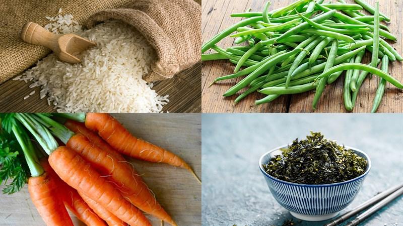 Nguyên liệu món ăn cơm nắm rong biển rau củ