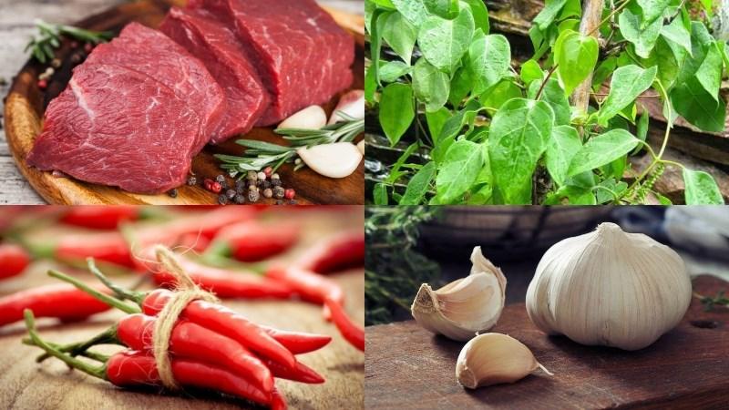 Nguyên liệu món ăn thịt bò xào lá giang