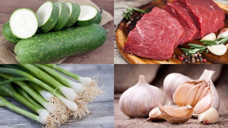 Nguyên liệu món ăn bí đao xào thịt bò