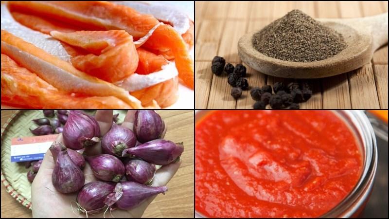 Nguyên liệu món ăn lườn cá hồi kho tiêu