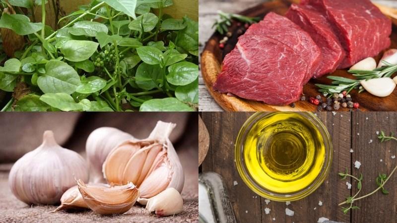 Nguyên liệu món ăn canh mồng tơi thịt bò