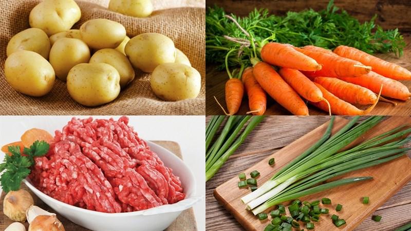 Nguyên liệu món ăn canh khoai tây cà rốt thịt băm