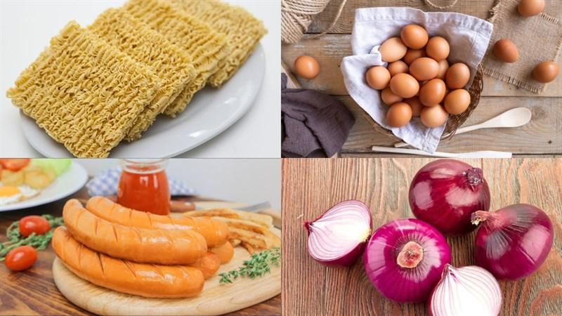 Nguyên liệu món ăn 2 cách làm mì chiên trứng