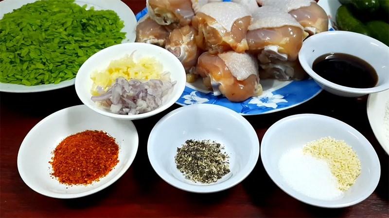 Nguyên liệu món ăn gà chiên cốm