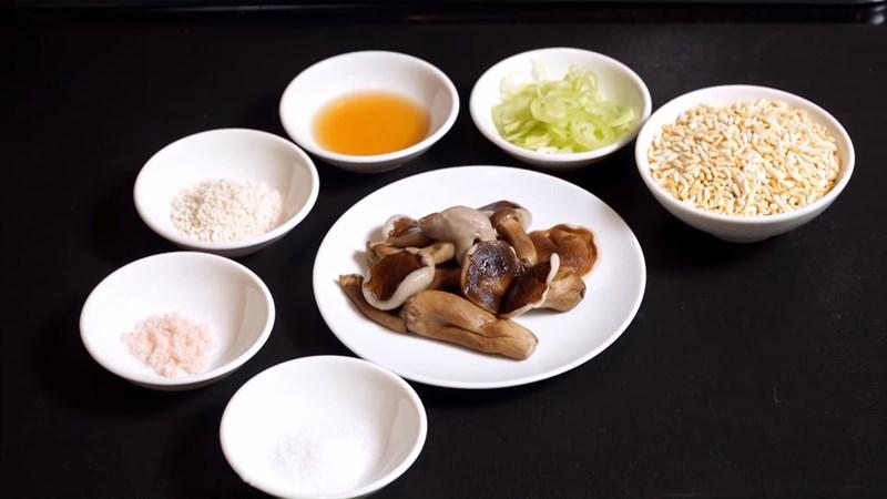 Nguyên liệu món ăn cháo nấm tràm chay