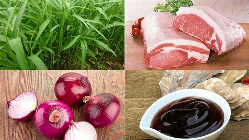 Nguyên liệu món ăn rau muống xào thịt heo