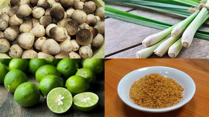 Nguyên liệu món ăn 3 cách làm nấm rơm hấp sả