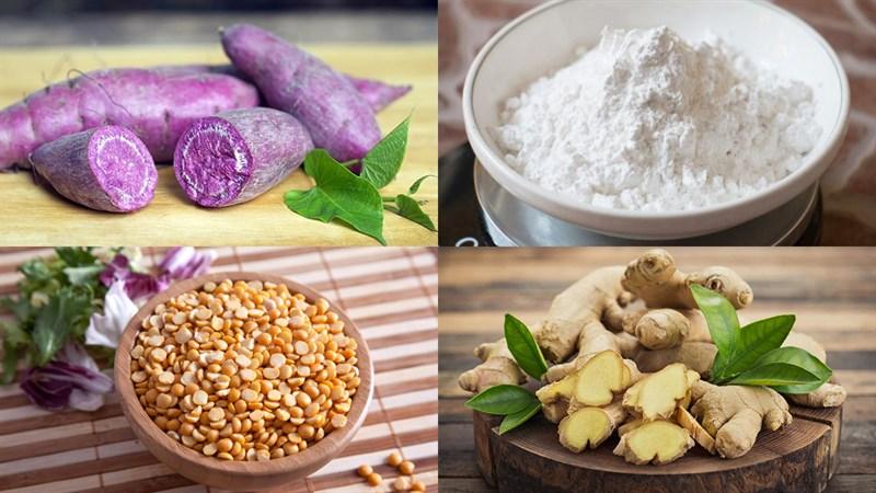 Nguyên liệu món ăn bánh trôi nước khoai lang tím nhân đậu xanh