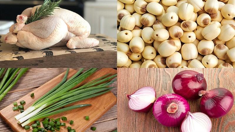 Nguyên liệu món ăn cách nấu gà hầm hạt sen