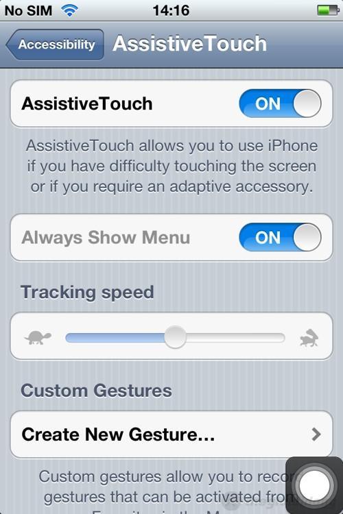 Khởi động tính năng AssistiveTouch thay thế phím Home