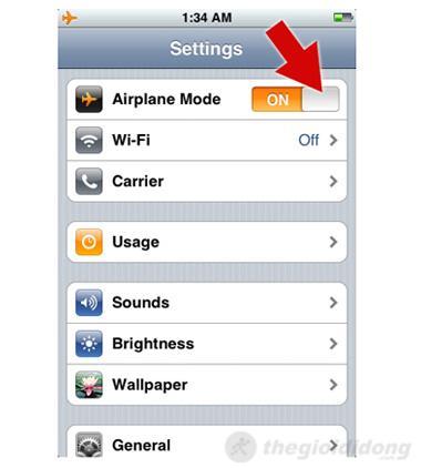 Bật AirPlane Mode để khắc phục mất kết nối 3G