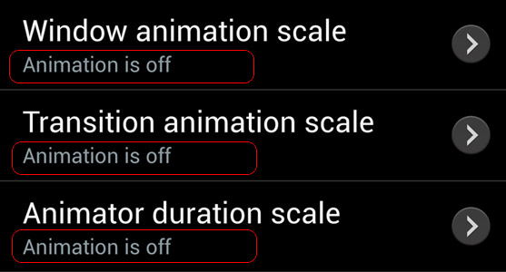 Để chế độ Animation is off