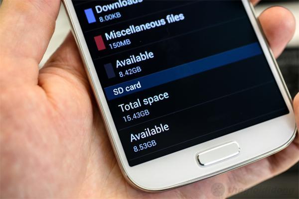 Bộ nhớ hệ thống của Galaxy S4 chiếm hơn một nửa dụng lượng