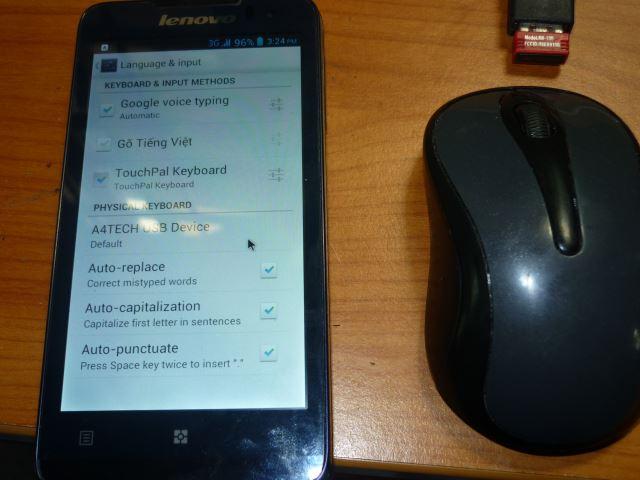 Dùng chuột điều khiển smartphone Android qua USB OTG