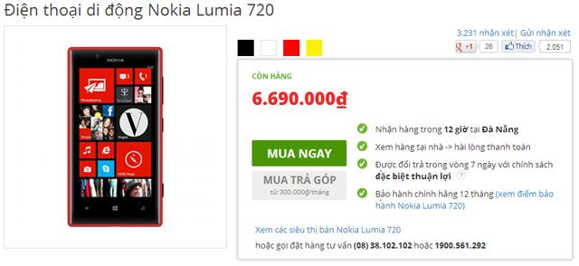 Hệ thống siêu thị TGDD đã giảm giá Lumia 720 còn 6.690.000 đồng