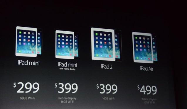 Giá bán iPad của Apple