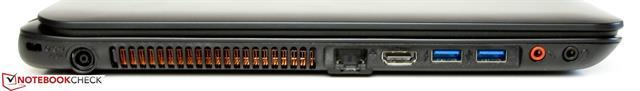Cạnh trái có khe khóa Kensington, ổ cắm điện, Gigabit Ethernet, HDMI, 2 cổng USB 3.0, micro-in và cổng tai nghe