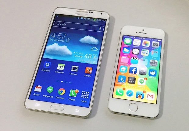 Galaxy Note 3 so với iPhone 5S