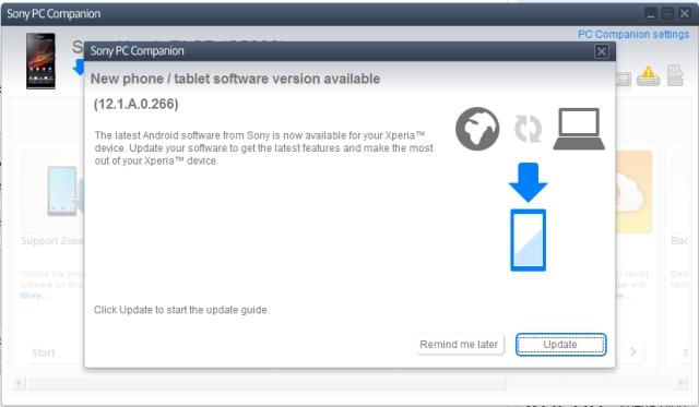 Quá trình cập nhật của Xperia SP thông qua phần mềm máy tính Sony PC Companion