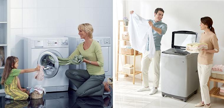 So sánh máy giặt lồng đứng và máy giặt lồng ngang