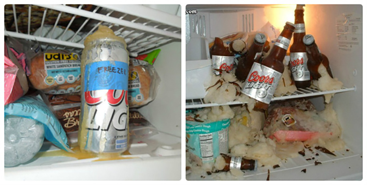 Không để đồ uống có gas trong ngăn đá tủ lạnh
