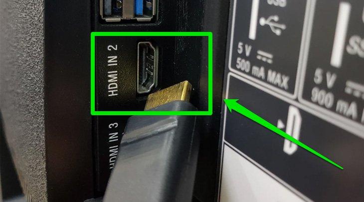 Nối tiếp đầu HDMI còn lại vào tivi