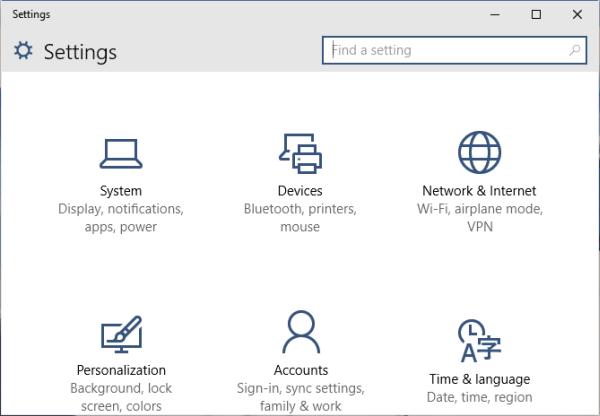 Mở cửa sổ Windows Settings