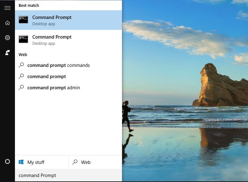Chọn Start Menu, sau đó chọn Command Prompt (admin).