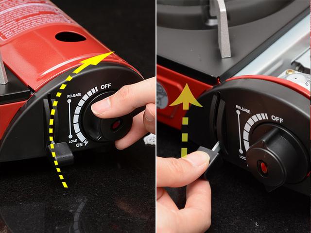 Sau khi sử dụng xong, xoay núm vặn theo chiều kim đồng hồ đến vị trí OFF để tắt lửa. Gạt cần gạt về vị trí UNLOCK