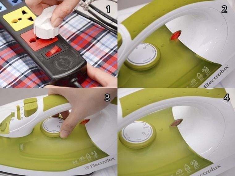 Kết nối điện và chỉnh nhiệt độ cho bàn ủi