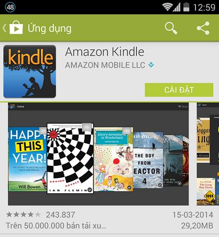 Cài đặt Amazon Kindle