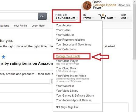 Sauk hi đăng nhập chọn Manage Your Kindle
