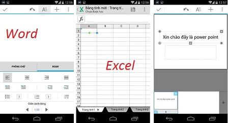 Soạn thảo Word, Excel, PowerPoint với QuickOffice