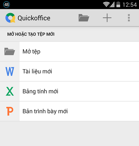 Giao diện quick office