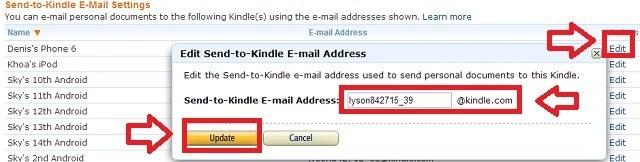 Thay đổi địa chỉ email để gửi sách về