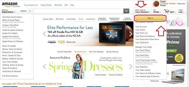 Đăng nhập tài khoản Amazon
