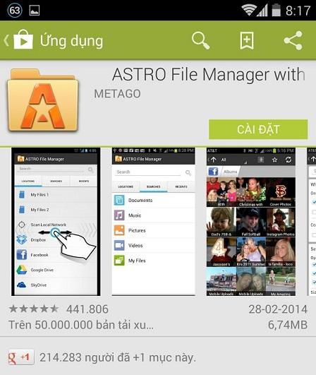 Cài đặt quản lý tập tin Astro