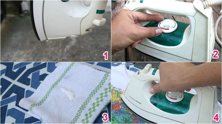 Làm sạch mặt bàn ủi bằng thuốc tẩy