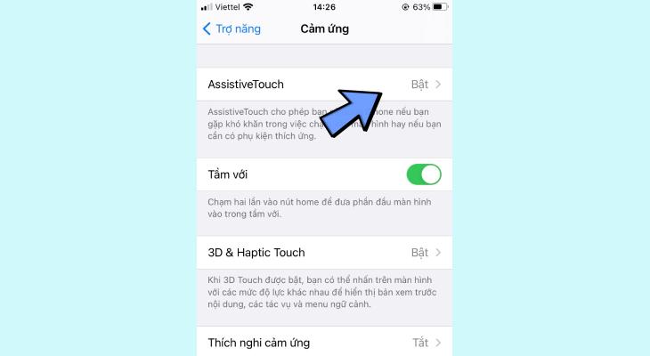 Nhấn Bật AssistiveTouch để bật nút Home ảo và ngược lại.