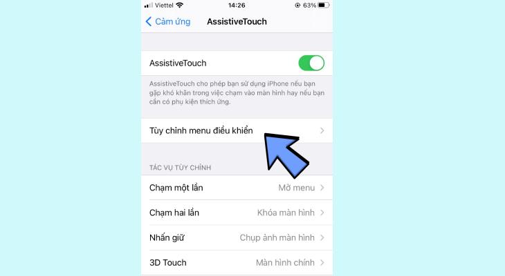 Tại giao diện AssistiveTouch, nhấn chọn Tùy chỉnh menu điều khiển