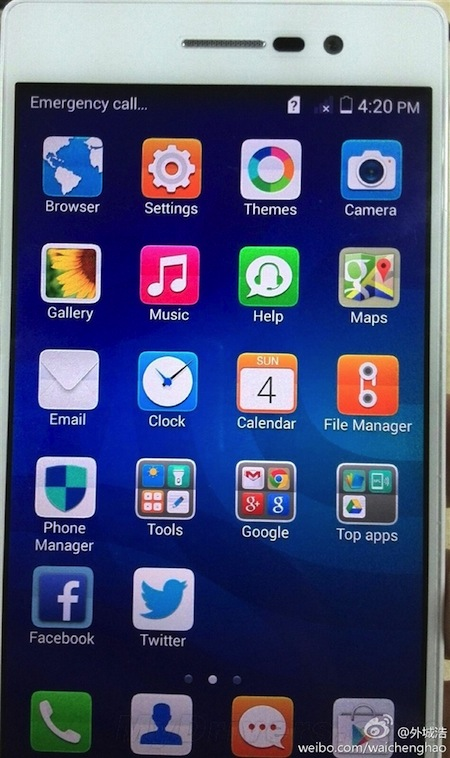 Giao diện trên Huawei Ascend P7
