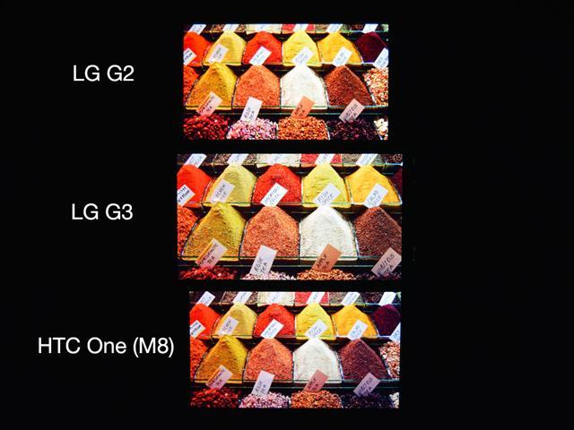 LG G3 đọ màn hình cùng với tiền bối G2 và HTC One M8