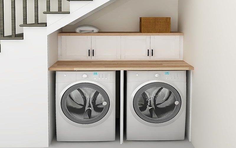 Đặt máy giặt ở góc chân cầu thang