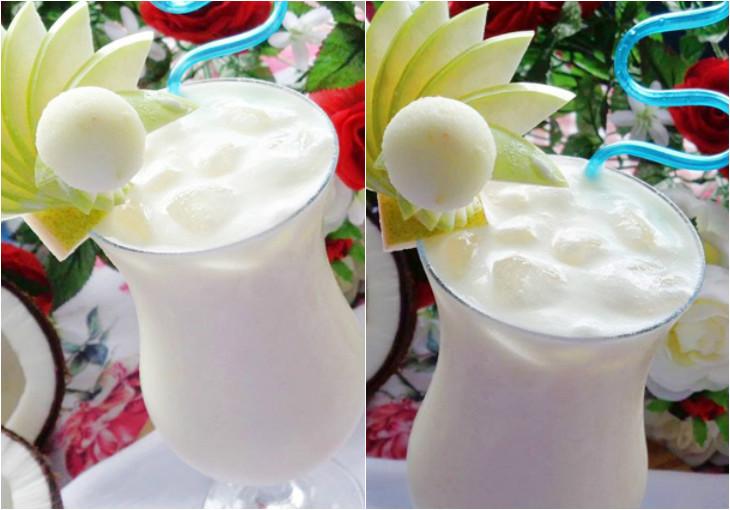 Sinh tố dừa pha thơm