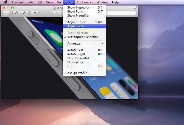 Chọn Adjust Size trong mục Tools