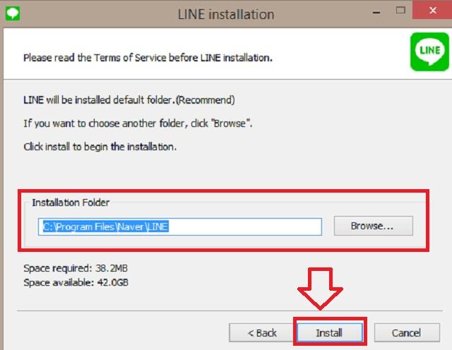 Chọn nơi cài đặt Line rồi chọn Install để cài đặt tự động