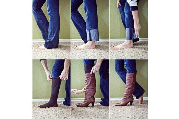 Năng động, gọn gàng và cá tính với cách giấu quần rin vào giày bốt cao