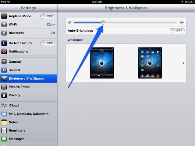 Chỉnh độ sáng trên iOS
