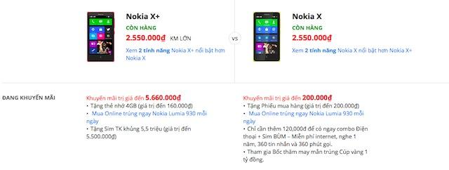 Nokia X có giá ngang X Plus?